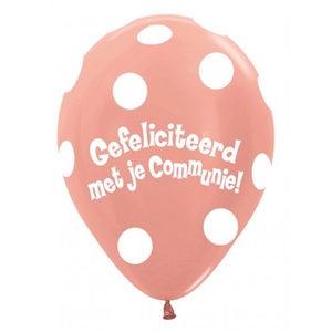 Gefeliciteerd met je communie polka dots rose-gold